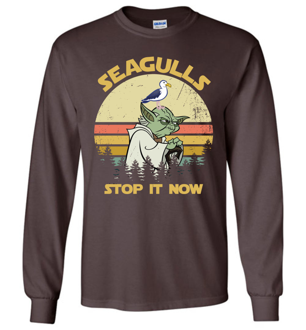 Vintage - Lovely Seagull Now I Stop It For Bird: Long Sleeve T-Shirt - Make better shirt