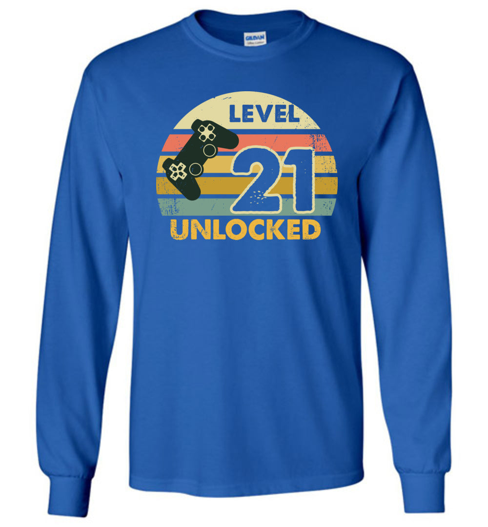 Level 21 Unlocked 21ST Birthday Funny Video Game Shirt Long Sleeve T-Shirt - Make better shirt