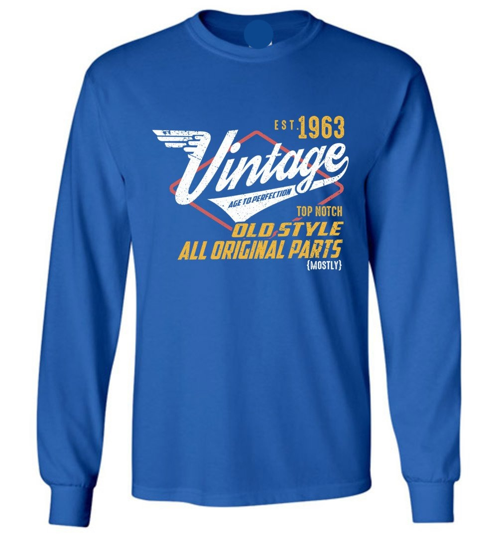Vintage Since 1963 - 56TH Years Old Tees - Awesome Birthday Gift - Long Sleeve T-Shirt - Make better shirt