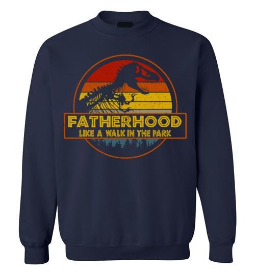 Fatherhood Like A Walk In The Park - Retro Vintage T Rex Dinosaur Father's Day Gift