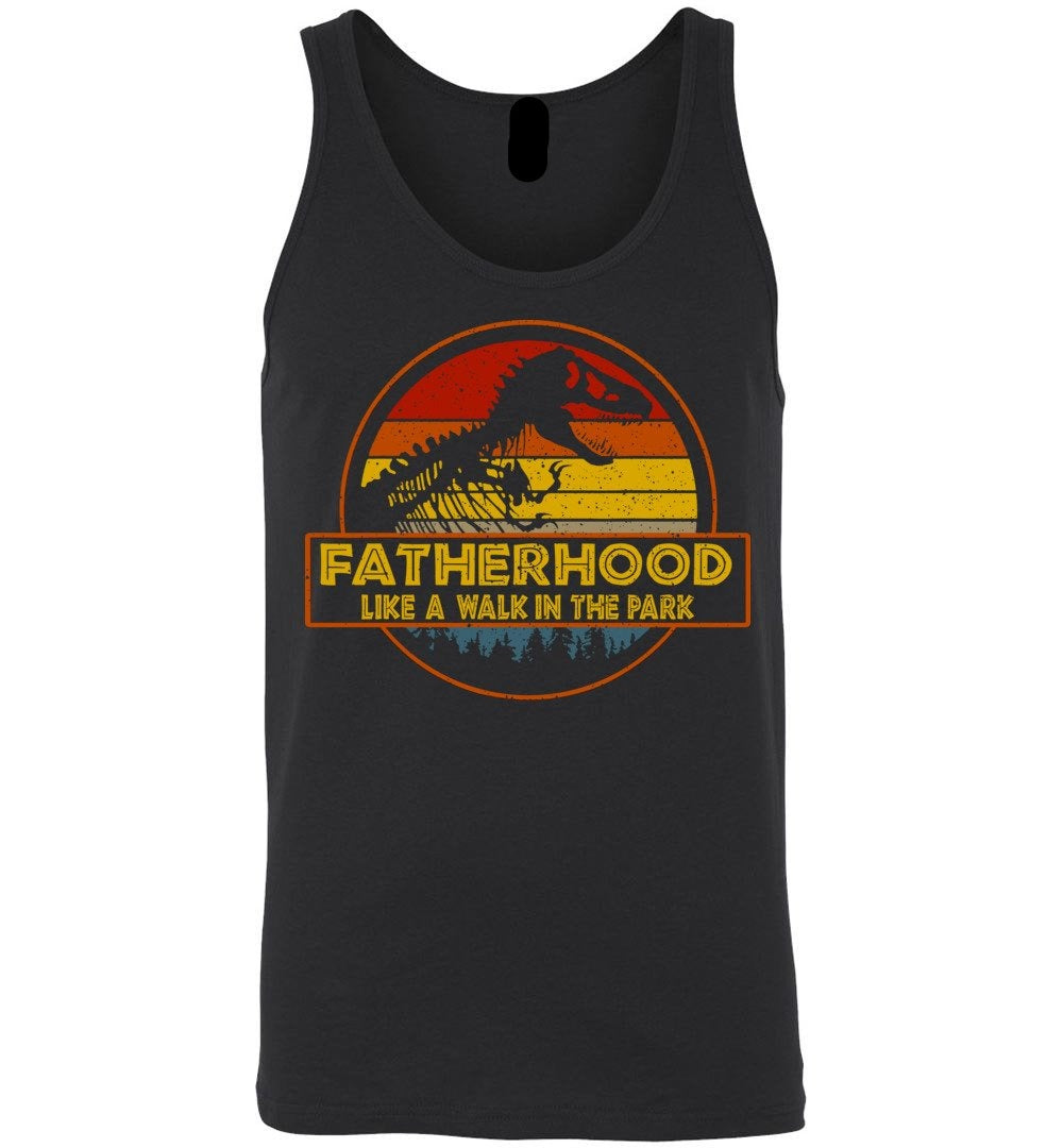 fatherhood like a walk in the park vintage retro sunset-Canvas Unisex Tank - Make better shirt