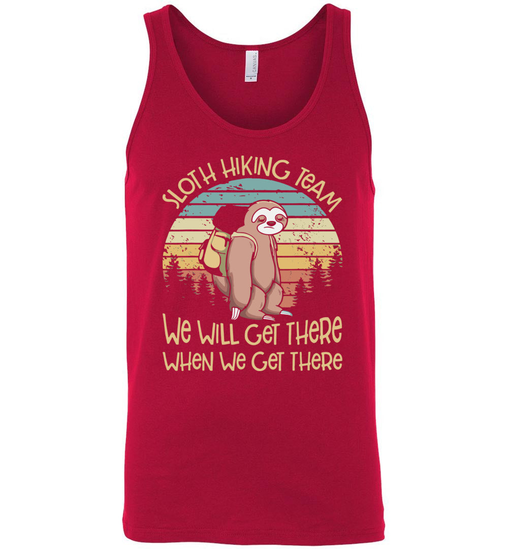 Sloth Hiking Team We Will Get There When We Get There - Canvas Unisex Tank - Make better shirt