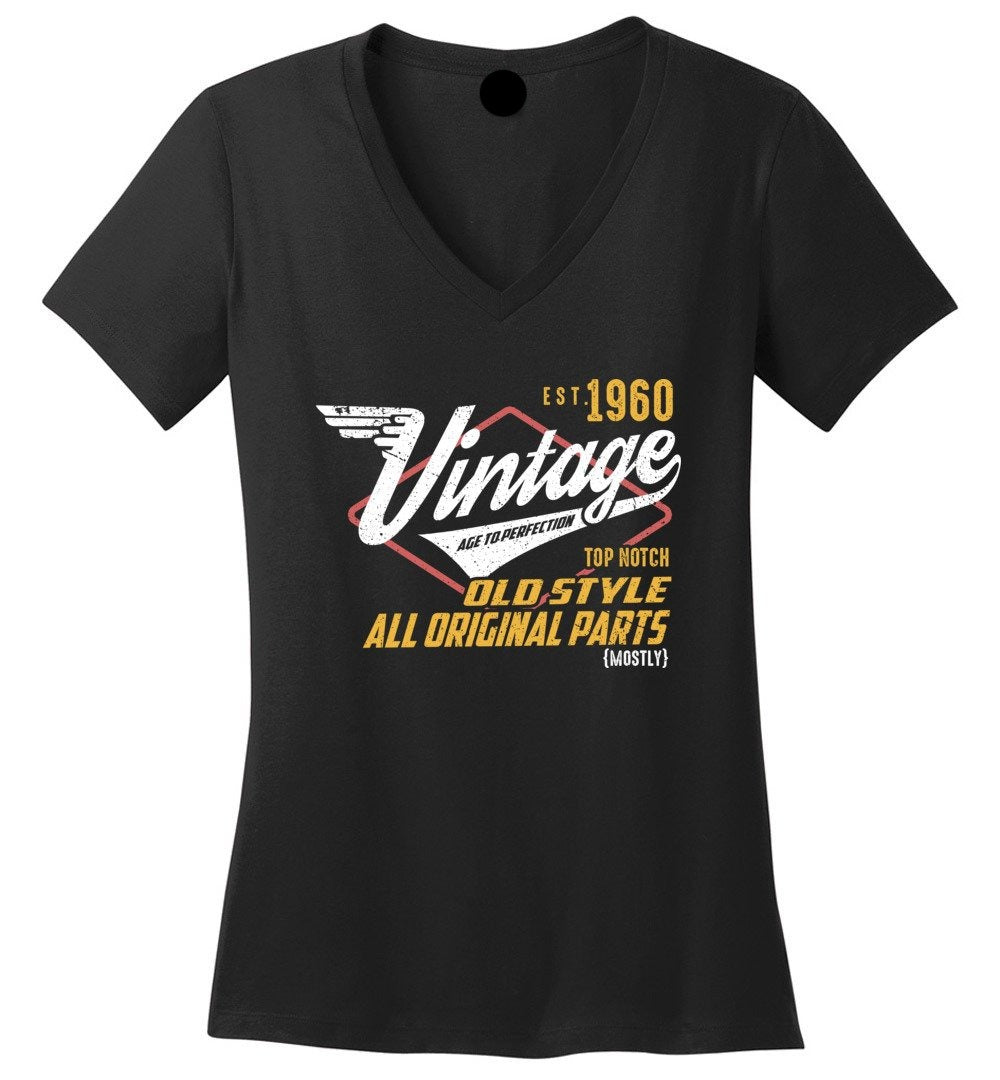 Vintage 1960 - 59TH Years Old Tees - Awesome Birthday Gift - Ladies Perfect Weight V-Neck - Make better shirt