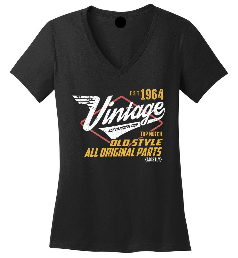 Vintage 1964 - 55TH Years Old Tees - Awesome Birthday Gift - Ladies Perfect Weight V-Neck - Make better shirt
