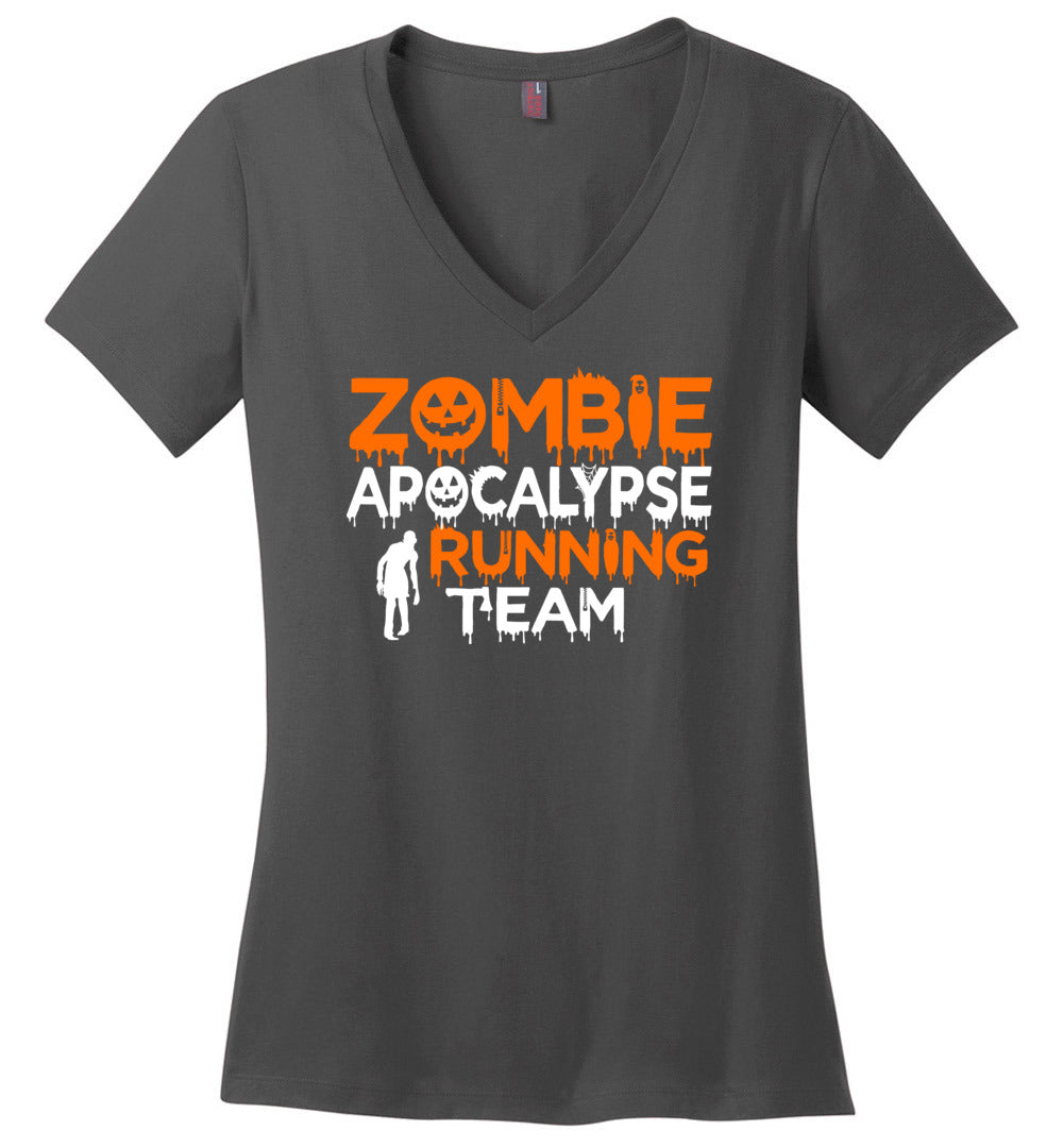 Funny Zombie Apocalypse Running Team - Halloween Costume Idea - Perfect Weight V-Neck - Make better shirt