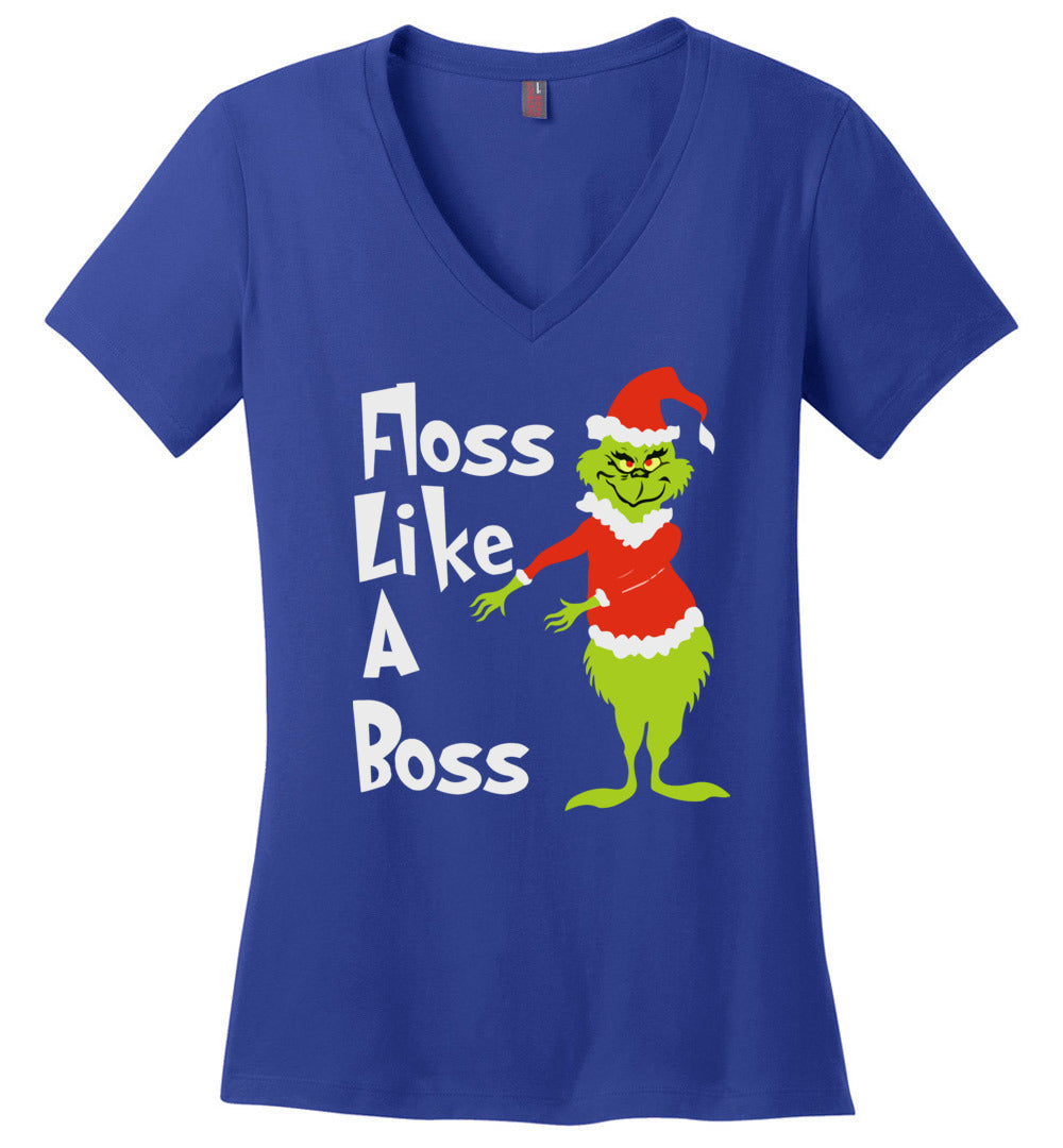 Floss Like A Boss - Funny Grinch Dance Christmas Gift Idea - Perfect Weight V-Neck - Make better shirt