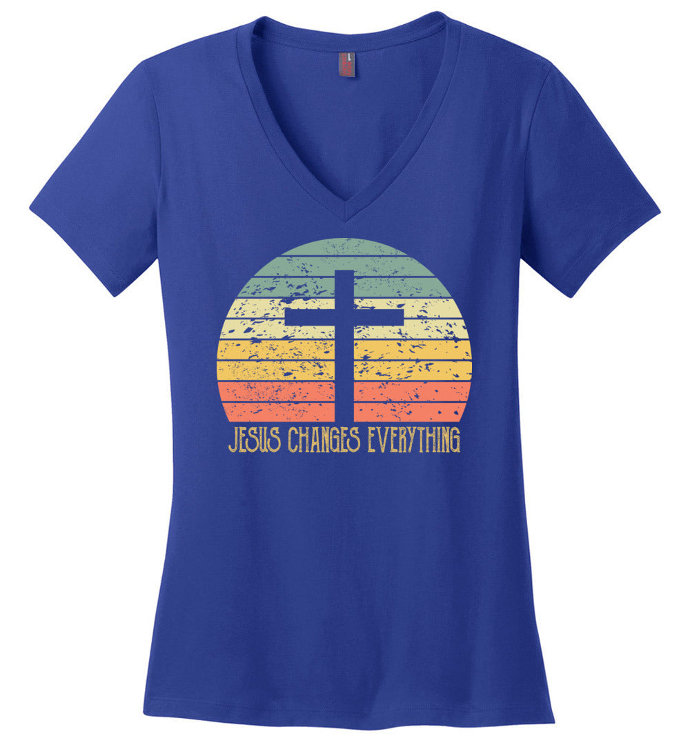 Vintage Sunset Jesus Changes Everything Christian Believert - Perfect Weight V-Neck - Make better shirt