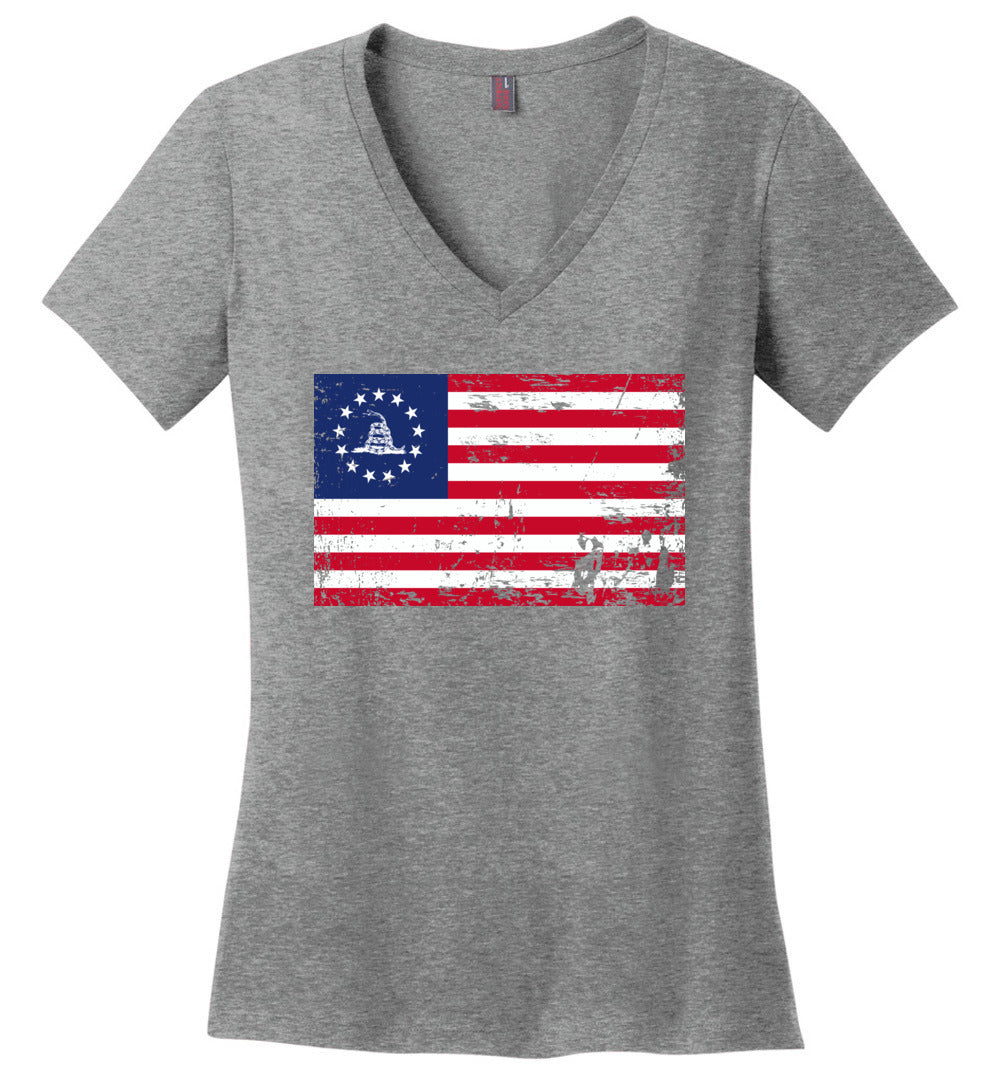 Patriotic Politically Incorrect Betsy Ross Flag 1776 Gadsden - Ladies Perfect Weight V-Neck - Make better shirt