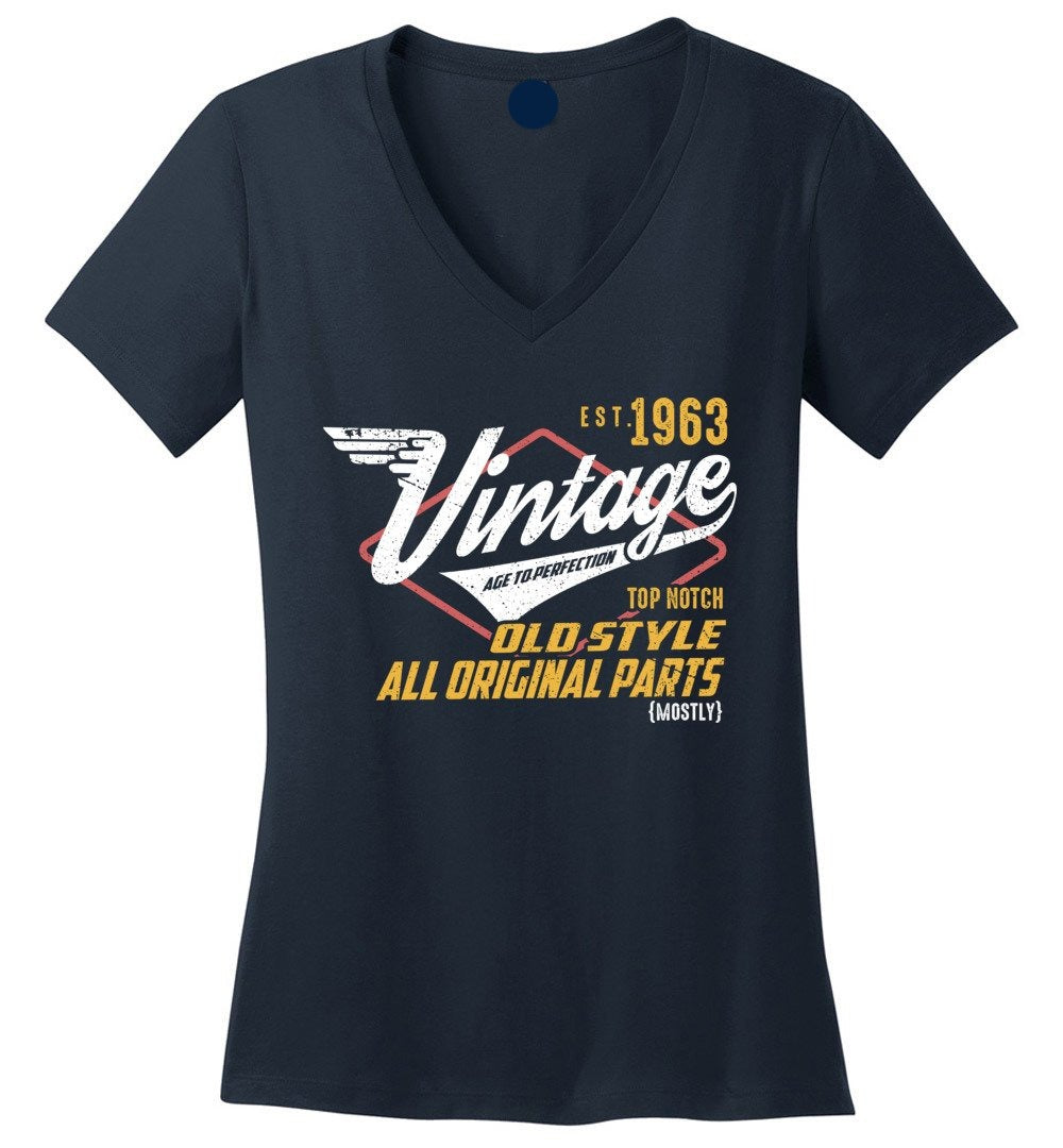 Vintage 1963 - 57 Years Old Tees - Awesome Birthday Gift - Ladies V-Neck T-Shirt