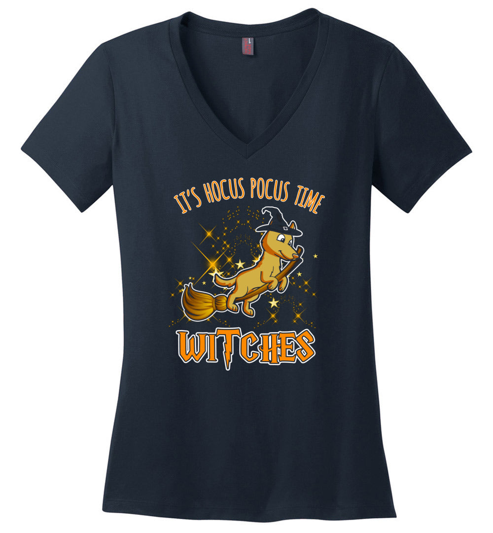 It's Hocus Pocus Time Funny Witches Gift Halloween V-Neck TShirt - Make better shirt
