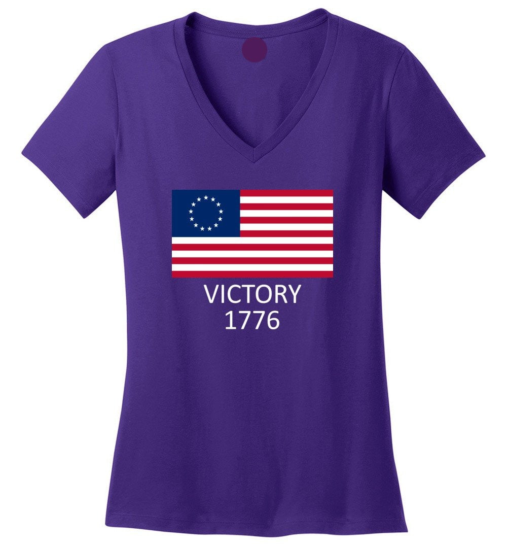 Betsy Ross Flag Symbolism American Victory 1776 - Perfect Weight V-Neck - Make better shirt