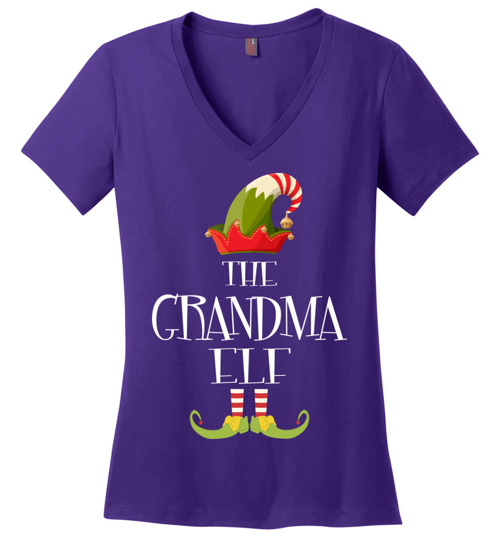 Grandma Elf Matching Family Christmas Party Pajama: Ladies Perfect Weight V-Neck - Make better shirt