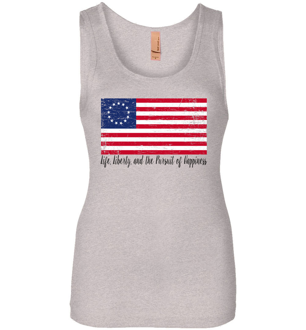 Distressed Betsy Ross Flag - Life, Liberty, and the Pursuit of Happiness Flag - Tank Top - Make better shirt