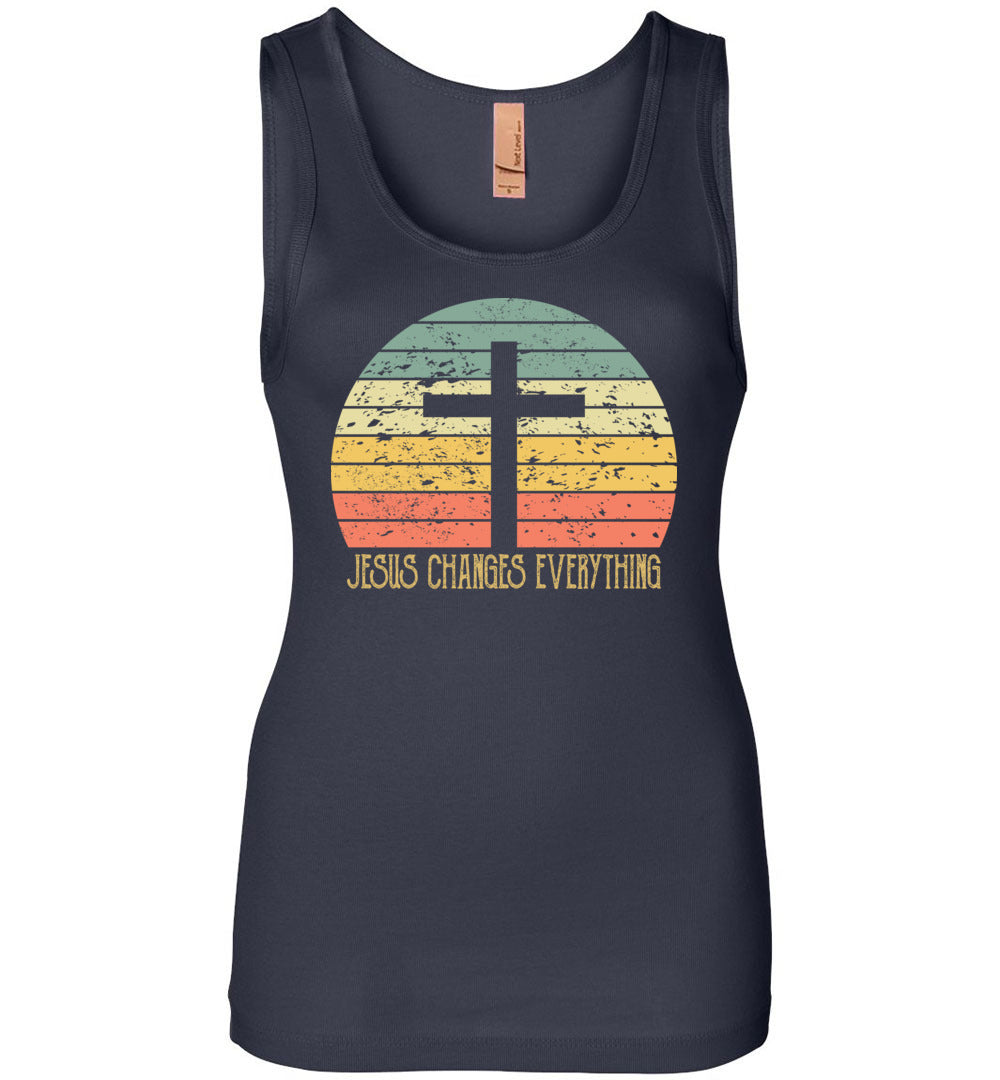 Vintage Sunset Jesus Changes Everything Christian Believert - Jersey Tank - Make better shirt