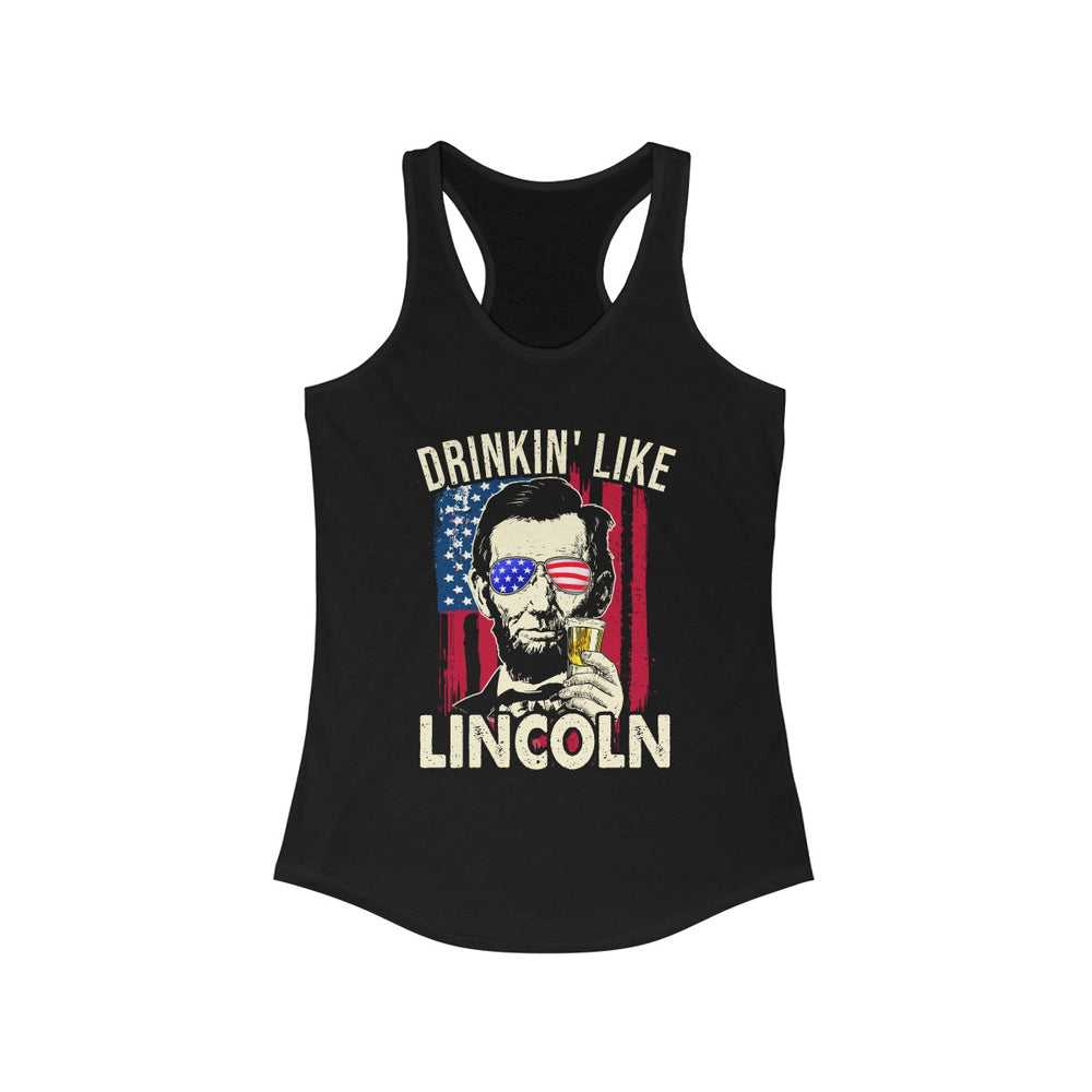 Merica Abe Lincoln 4th of July Men American Flag Murica Gift Women's Ideal Racerback Tank - Make better shirt