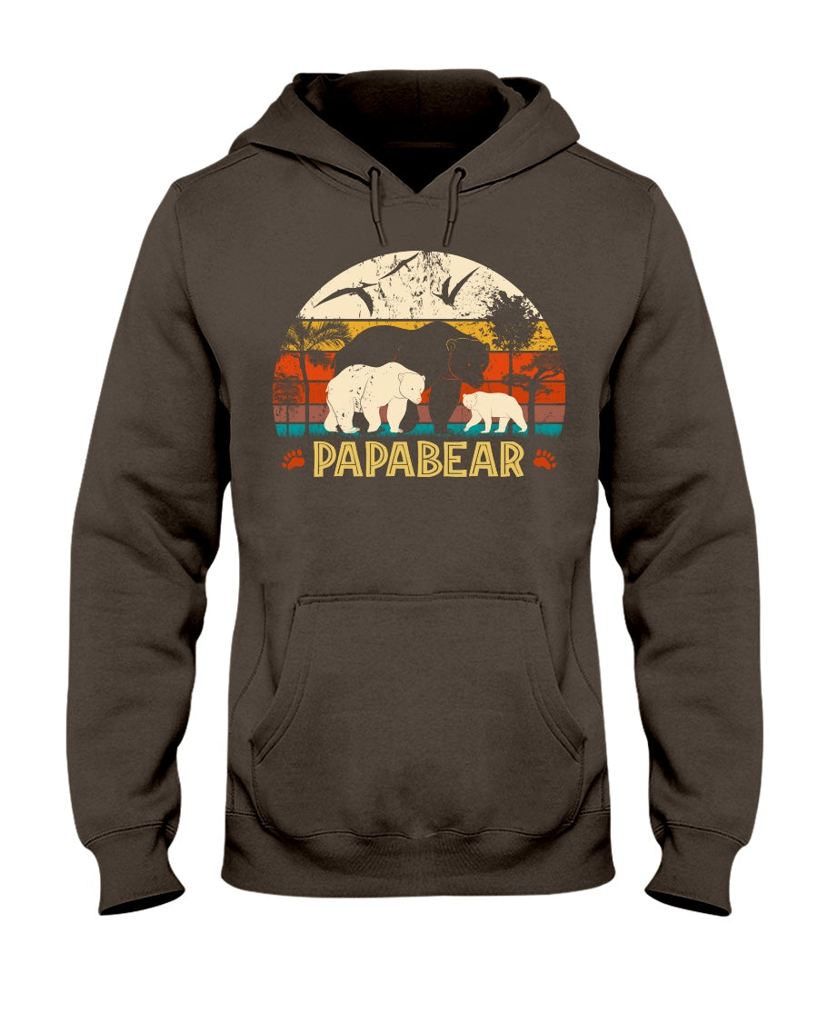 Vintage Papabear Funny Bear Lovers Retro Sunset Father's Day Tee Gift