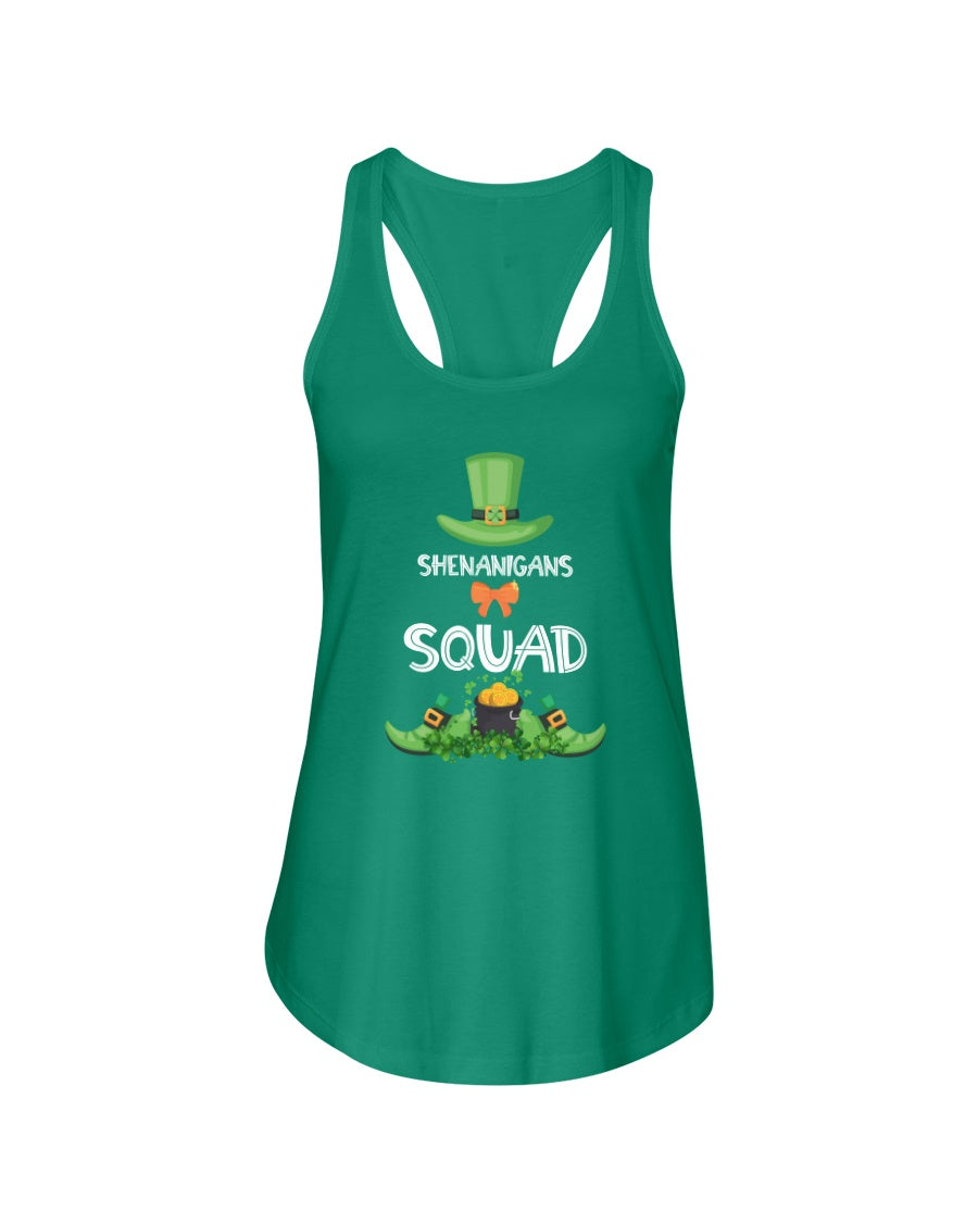 Shenanigans Squad Funny St Patricks Day Group Drinking Gift - Ladies Racerback Tank Top