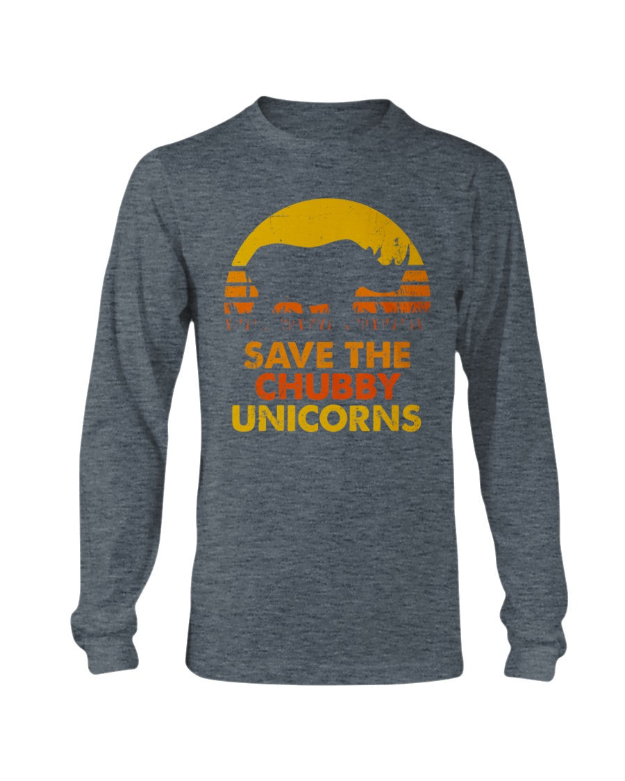 Save The Chubby Unicorn Funny Rhino Gift - Long Sleeve T-Shirt