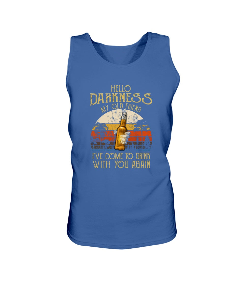 Hello Darkness My Old Friend I've Come To Drink With You Again Beer Lovers Retro Sunset Gift