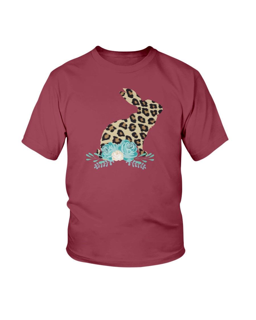 Bunny Leopard Print Floral Happy Easter - KIDS Ultra Cotton T-Shirt
