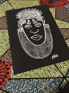 IDIA Ancient African Inspired A3 Giclée Art Print in Black