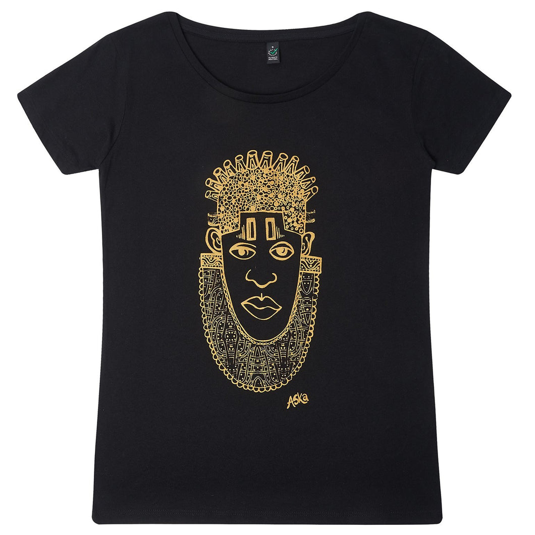 IDIA IN GOLD ART EARTH POSITIVE TEE- SCOOPED NECK