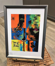 Load image into Gallery viewer, HAPPY VIBES Recycled Ankara Fabric Art