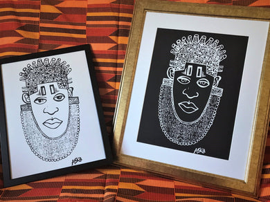 IDIA Ancient African Inspired A3 Wall Art Prints (Black&White)