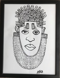 IDIA Ancient African Inspired A3 Giclée Art Prints in Black & White