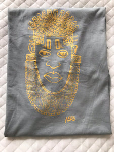 IDIA ART EARTH POSITIVE TEE- GOLD ON GREY