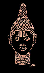 IYOBA Ancient African Inspired A2 Giclée Art Print in Rose gold