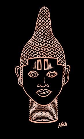 IYOBA Ancient African Inspired A3 Giclée Art Print in Rose gold