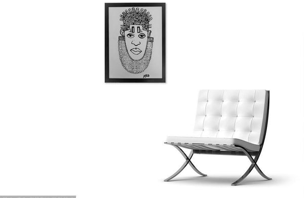 IDIA Ancient African Inspired A3 Giclée Art Print in White