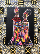 Load image into Gallery viewer, SISTERHOOD Recycled Ankara Fabric Art