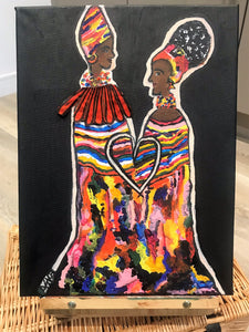 SISTERHOOD Recycled Ankara Fabric Art