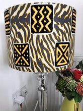 Load image into Gallery viewer, AFROBRIT FUSION LAMPSHADE-SYMBOLS/ZEBRA MIX PATTERN