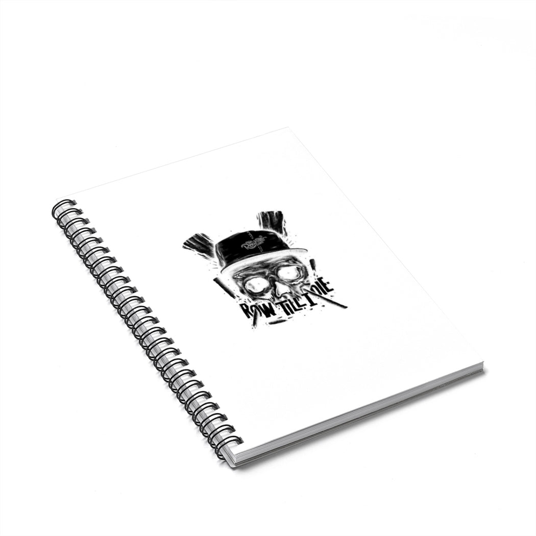 Spiral Notebook - Ruled Line - Scull b/w
