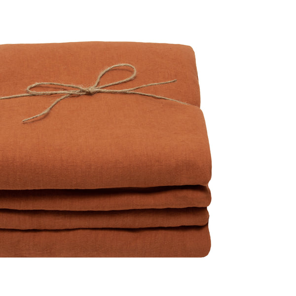 Coco Linen - Terracotta Fitted sheet