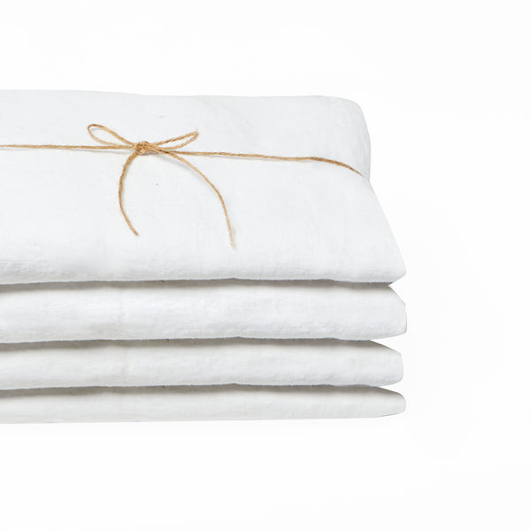 Washed linen - Whisper White Fitted Sheet