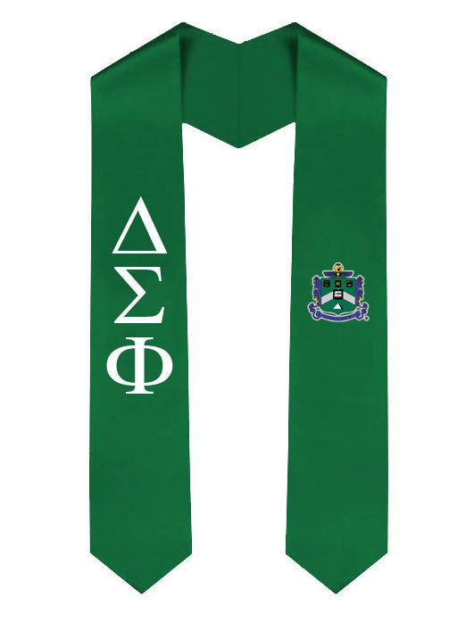 Delta Sigma Phi Lettered Graduation Sash Stole with Crest