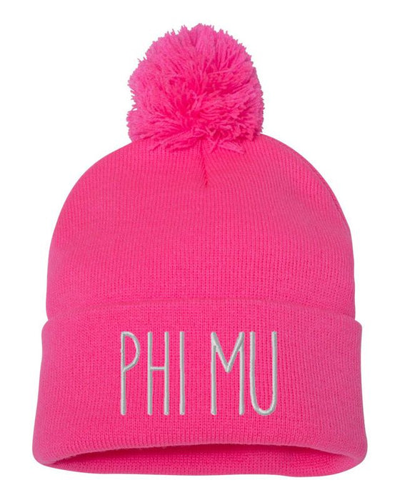 Phi Mu Sorority Beanie With Pom Pom