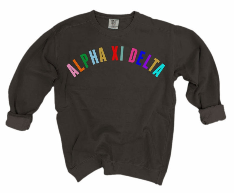Alpha Xi Delta Comfort Colors Over the Rainbow Sorority Sweatshirt