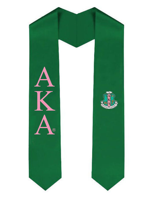Alpha Kappa Alpha Lettered Graduation Sash Stole with Crest