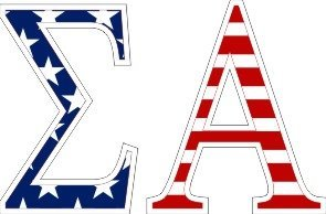 Sigma Alpha American Flag Letter Sticker - 2.5