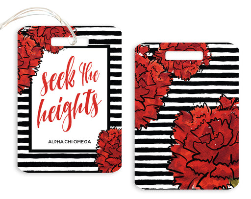 Alpha Chi Omega Floral Motto Luggage Tag