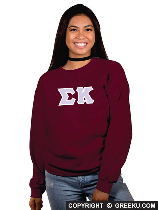 Sigma Kappa Classic Colors Sewn-On Letter Crewneck