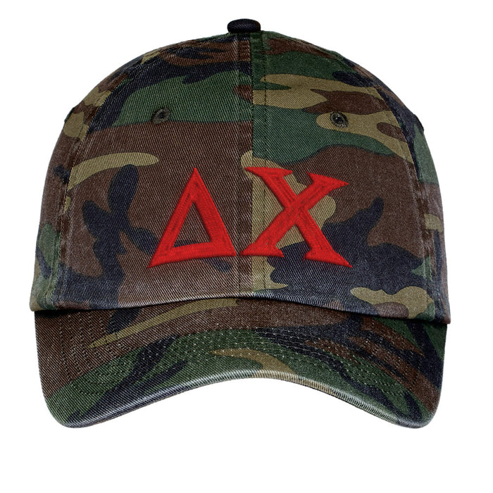 Delta Chi Letters Embroidered Camouflage Hat