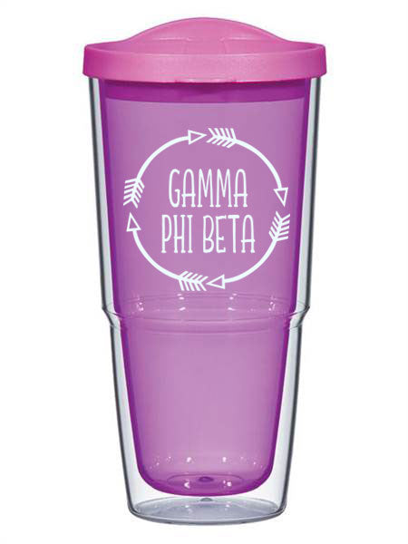 Gamma Phi Beta Circle Arrows 24 oz Tumbler with Lid