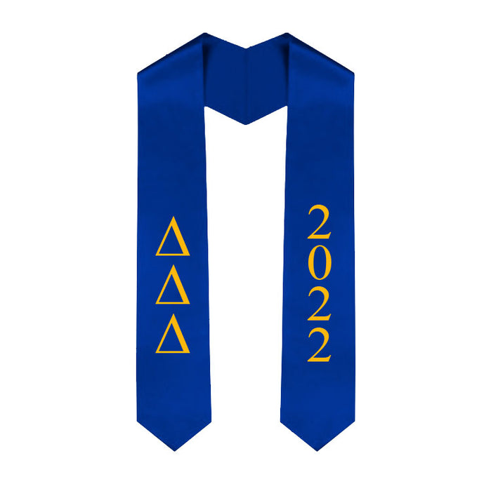 Delta Delta Delta Vertical Grad Stole with Letters & Year