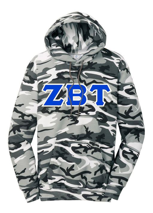 Zeta Beta Tau Camo Hooded Pullover Sweatshirt